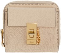 Chloe Beige Leather Square Drew Wallet