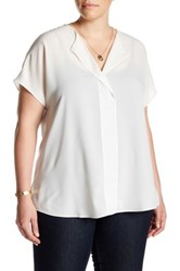 14Th And Union Short Sleeve V Neck Blouse Plus Size White