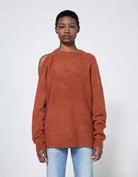 Tibi Cozy Cut Out Shoulder Pullover Burnt Paprika
