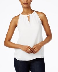 Bar Iii Lace Trim Keyhole Halter Top Only At Macy's Washed White