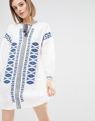 Warehouse Embroidered Tunic Blue And White Multi