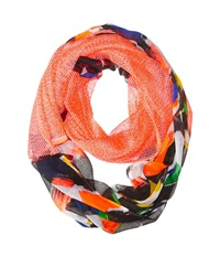 Steve Madden Different Stroke Half And Half Infinity Scarf Neon Coral Scarves Orange
