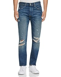 Levi's 501 Distressed New Tapered Fit Jeans In Dark Blue