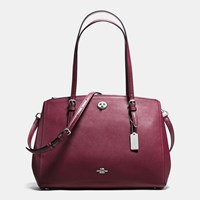 Coach Turnlock Carryall In Crossgrain Leather Silver Burgundy