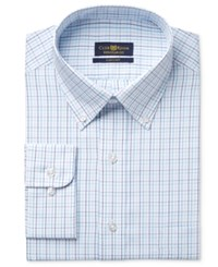 Club Room Estate Men's Classic Fit Wrinkle Resistant Aqua Tattersall Dress Shirt Dress Shirt Only At Macy's