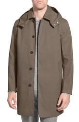 Men's Mackintosh Waterproof Trench Raincoat With Removable Hood And Lining Brown