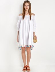 Pixie Market White Off The Shoulder Pom Pom Tassel Dress