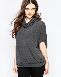 Wal G Top With Roll Neck Charcoal Grey