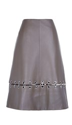 Tibi Metal Rings On Leather A Line Skirt
