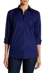 Foxcroft Long Sleeve Classic Fit Shirt Blue