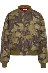 Ganni Camouflage Print Shell Bomber Jacket Army Green