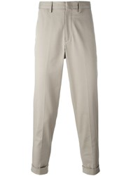 Moncler Cropped Trousers Nude And Neutrals