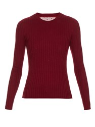 Red Valentino Ribbed Long Sleeved Knit Sweater Burgundy