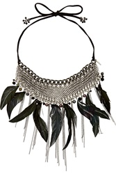Maje Grizzo Silver Tone Crystal Pearl And Feather Necklace Black