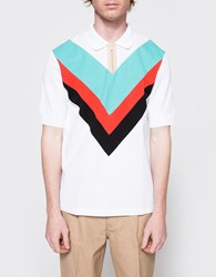 Fred Perry Zip Front Chevron Pique Shirt White
