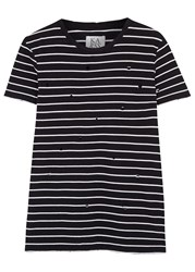 Zoe Karssen Striped Distressed Cotton T Shirt Black And White