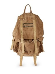 Balmain Suede Satchel Backpack Beige