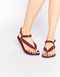 Park Lane Plaited Leather Flat Sandals Red
