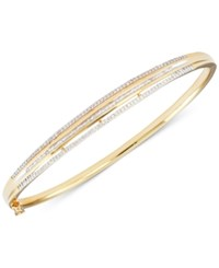 Macy's Diamond Three Row Bangle Bracelet 1 2 Ct. T.W. In 18K Gold Over Sterling Silver