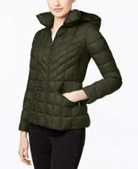 Michael Kors Packable Down Hooded Quilted Puffer Jacket Dark Olive