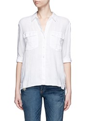 James Perse Pocket Button Up Canvas Linen Shirt White