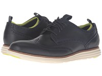 Cole Haan Original Grand Neoprene Lined Wing Oxford Marine Blue Ironstone Knit Ivory Men's Lace Up Casual Shoes Black