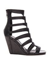 Rick Owens Leather Nautilus Wedges In Black