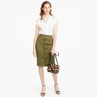 J.Crew Button Front Garment Dyed Skirt In Stretch Twill