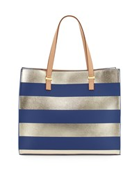 Neiman Marcus Bardot Striped Tote Bag Navy Gold