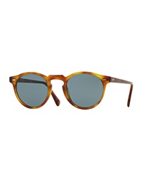 Oliver Peoples Gregory Peck Round Plastic Sunglasses Brown Tortoise