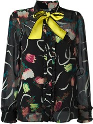 I'm Isola Marras Contrast Bow Collar Blouse Black