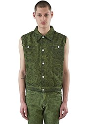 Telfar Sleeveless Embroidered Denim Vest Green