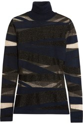 Emilio Pucci Metallic And Mesh Paneled Knitted Turtleneck Top Black
