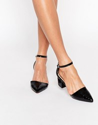 Truffle Collection Molly Ankle Strap Mid Heeled Shoes Black Patent Croc