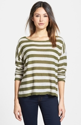 Eileen Fisher Ballet Neck Stripe Organic Linen Top Regular And Petite Online Only Olive