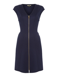Biba Zip Front Ponti Fit And Flare Dress Navy