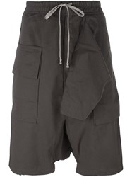 Rick Owens Drkshdw Drop Crotch Knee Length Shorts Grey