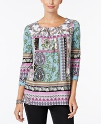 Charter Club Pleated Printed Tunic Only At Macy's Bright White Combo