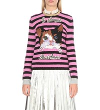 Gucci Embroidered Cashmere And Wool Blend Jumper Pink Blk