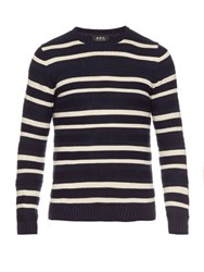 A.P.C. Crew Neck Striped Cotton Sweater Navy