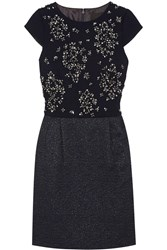 J.Crew Nell Embellished Crepe And Tweed Dress Blue