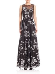 Rickie Freeman For Teri Jon Floral Lace Sleeveless Gown Black