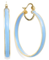 Sis By Simone I Smith Blue Raspberry Enamel Hoop Earrings In 18K Gold Over Sterling Silver 50Mm
