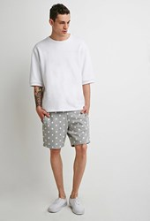 Forever 21 Drawstring Star Print Shorts Heather Grey White