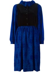 Lanvin Vintage Velvet Panel Dress Blue
