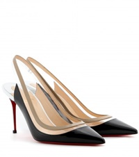 Christian Louboutin Paulina 85 Patent Leather Slingbacks Black