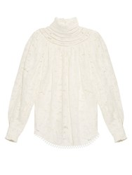 Zimmermann Master Ruffle Neck Blouse White