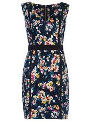 French Connection Daisy V Neck Dress Utility Blue Multi