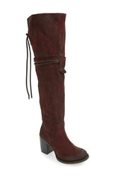 Freebird Women's By Steven Brock Over The Knee Boot Wine Suede