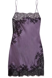 Carine Gilson Chantilly Lace Trimmed Silk Satin Chemise Dark Gray Lavender